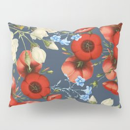 Poppies and Roses on dark Pillow Sham