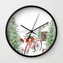 Winter Bicycle Wall Clock