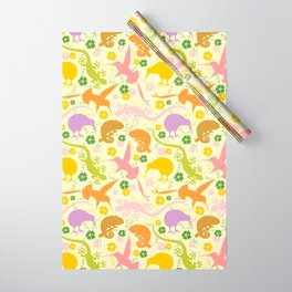 Animals Exotic Pastel Colors Shapes Pattern Wrapping Paper
