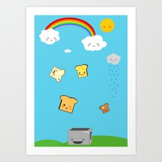 Flying Toast On Blue Art Print