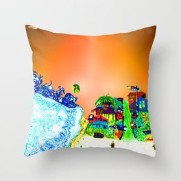 bright glittering sands and UFO Throw Pillow