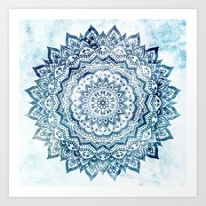 BLUE JEWEL MANDALA Art Print