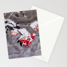 Rowan tree in snow sumie ink watercolor painting Stationery Cards