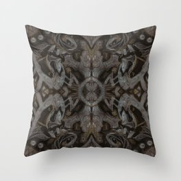 Curves & lotuses, black, brown and taupe Throw Pillow