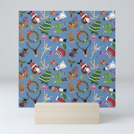 The Elements of Christmas (Pattern)(Blue) Mini Art Print