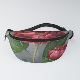 Red Peony Flower Painting Fanny Pack