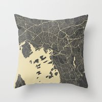 oslo Throw Pillows featuring Oslo Map by Map Map Maps