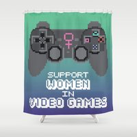 video games Shower Curtains featuring Support Women in Video Games by Inappropriately Adorable