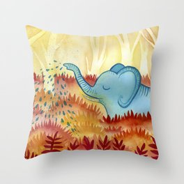Elephant's Garden Throw Pillow