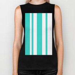 Mixed Vertical Stripes - White and Turquoise Biker Tank