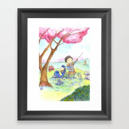 Two samurais on the hill Framed Art Print