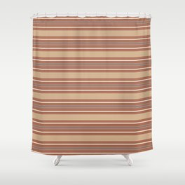 Cavern Clay SW 7701 and Accent Colors Thick and Thin Horizontal Lines Bold Stripes 2 Shower Curtain