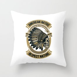 Native american. Indian chief Throw Pillow