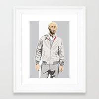 steve mcqueen Framed Art Prints featuring Steve McQueen by drawgood