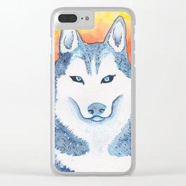 Blue Husky Clear iPhone Case
