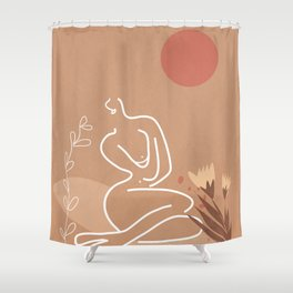 Woman in Nature Illustration Shower Curtain