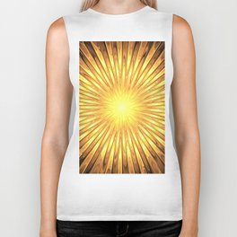Rays of GOLD SUN abstracts Biker Tank