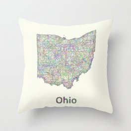 Ohio map Throw Pillow