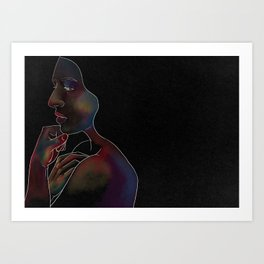 Woman on Black #2 Art Print