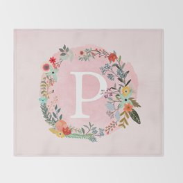 Flower Wreath with Personalized Monogram Initial Letter P on Pink Watercolor Paper Texture Artwork Throw Blanket