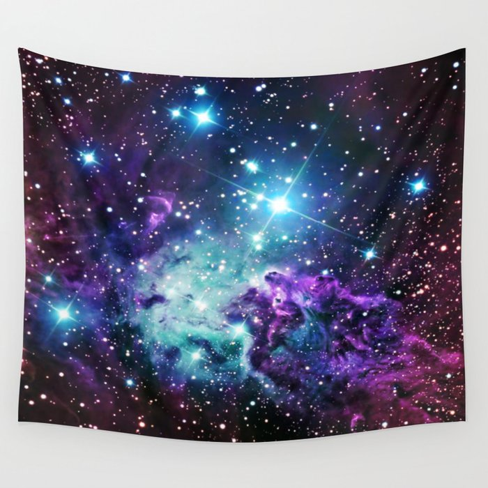 Fox Fur Nebula Purple Teal Galaxy Wall Tapestry By Me101