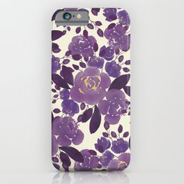 Elegant ivory gold lavender purple watercolor floral  iPhone Case