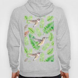 Hummingbirds and tropical leaves Hoody
