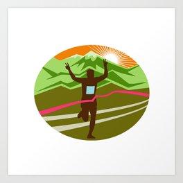 Marathon Finisher Oval Art Print