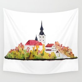 Slovenia Bled Lake pilgrimage church Wall Tapestry