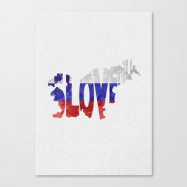 Slovenija / Slovenia Typographic Flag / Map Art Canvas Print