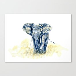African Elephant Watercolor Painting Canvas Print