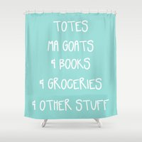 tote bag Shower Curtains featuring Totes Ma Goats & Books & Groceries & Other Stuff Tote Bag by Corrie Jacobs