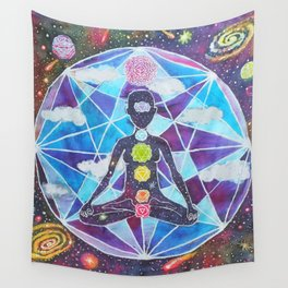 Meditation Chakra Space Tapestry Rainbow Galaxy Psychedelic Painting Art (Intergalactic Beings) Wall Tapestry