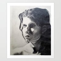Pencil drawing portrait of a nude model Art Print