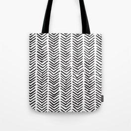Black and white brush painted chevron Tote Bag