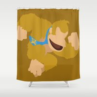 donkey kong Shower Curtains featuring Donkey Kong(Smash)Orange by ejgomez