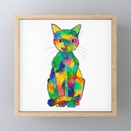 Rainbow Cat Framed Mini Art Print
