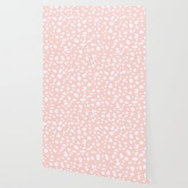 Pink Coral Spotty Dots Wallpaper