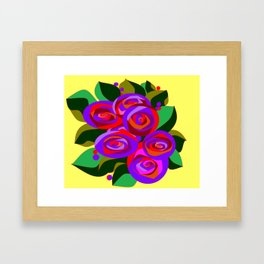 A Bouquet of Big Flowers with Yellow Background and Purple Tones Framed Art Print