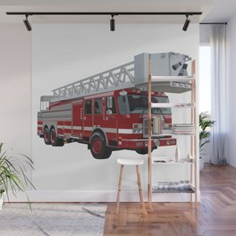 Fire Engine Truck with Ladder Wall Mural