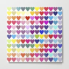 Rainbow Hearts Metal Print