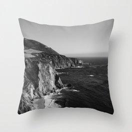 Monochrome Big Sur Throw Pillow