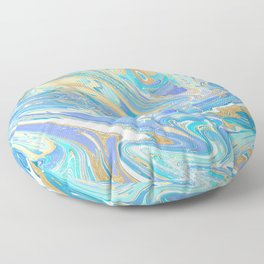 Pearlescent Aqua & Gold Liquid Marble Floor Pillow