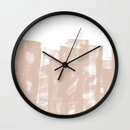Rolled Ink Texture in Soft Terracotta and White Wall Clock