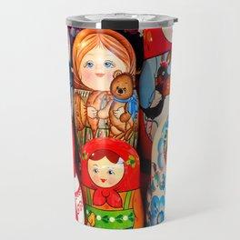 Culture. Group of matrioska, or babushka, symbol of maternity from Russia. Travel Mug