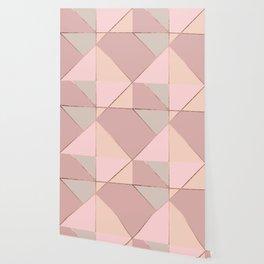 Modern rose gold peach blush pink color block Wallpaper