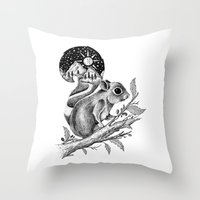 squirrel Throw Pillows featuring SQUIRREL by Thiago Bianchini