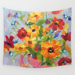 Pink Teapot Bouquet Wall Tapestry
