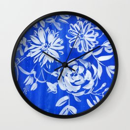 blue and white: flowers N.o 1 Wall Clock
