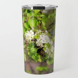 White Spring Blossoms Travel Mug